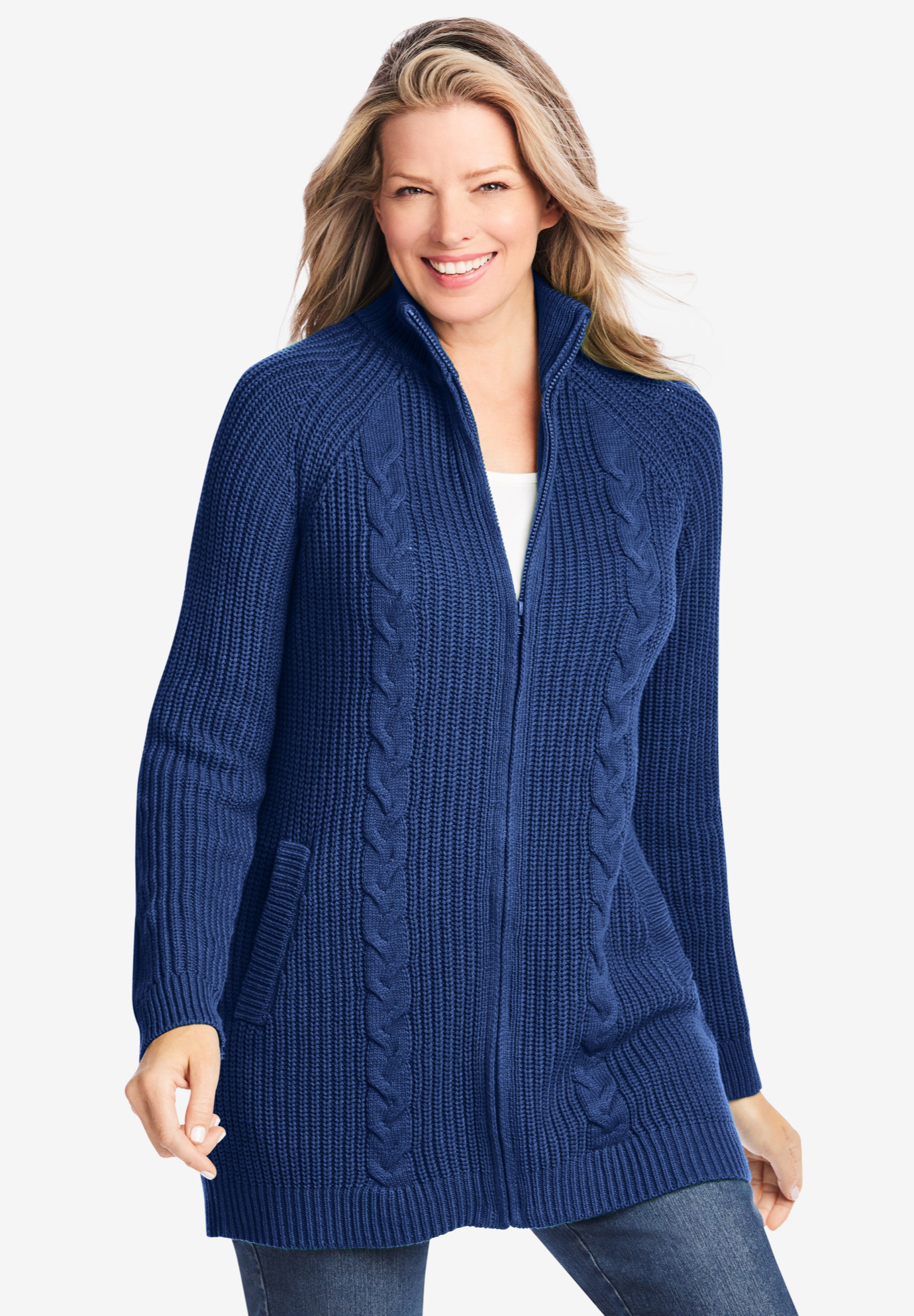 Cabled Zip-Front Cardigan,