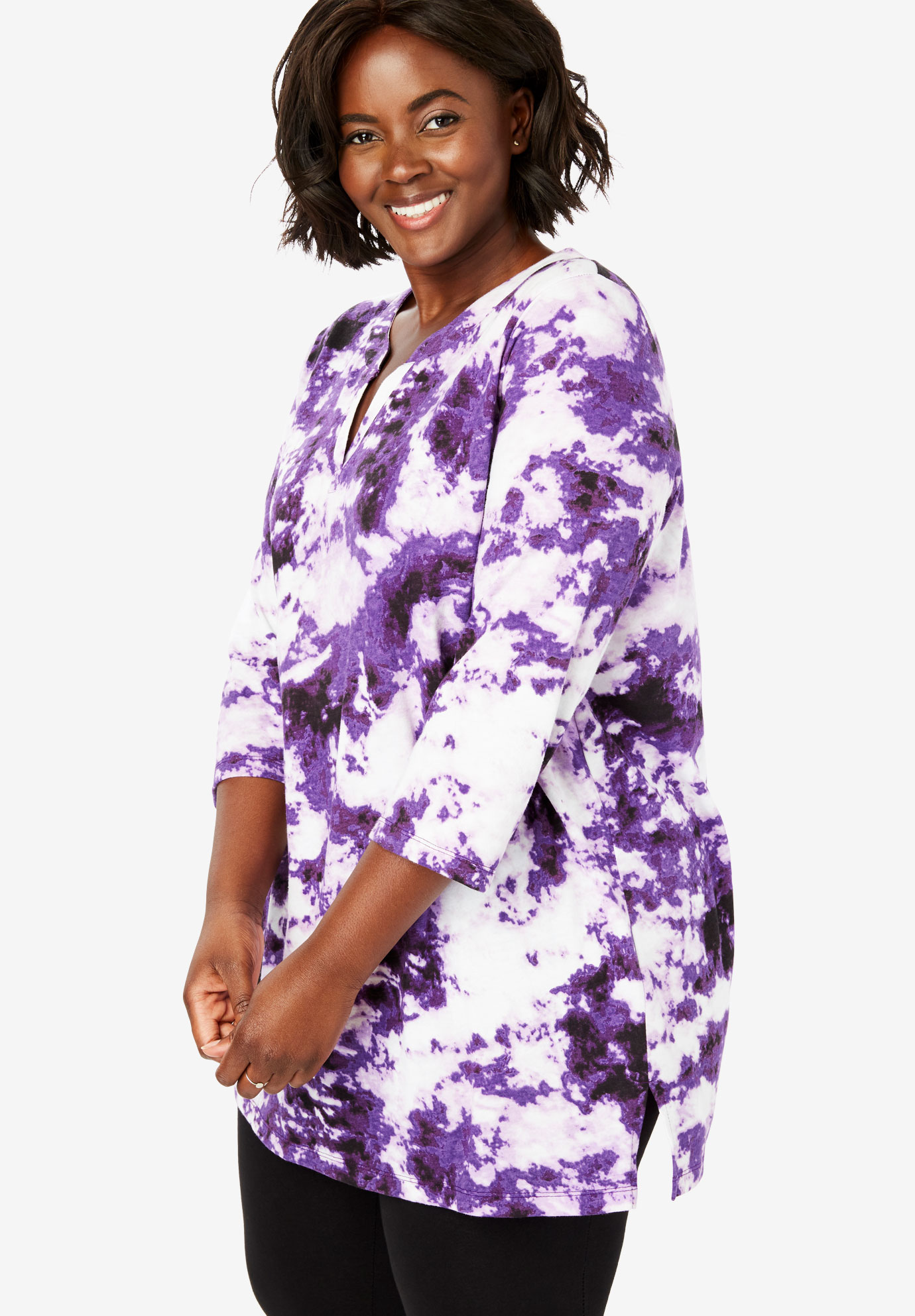 Tie-Dye Notch Neck Tunic,