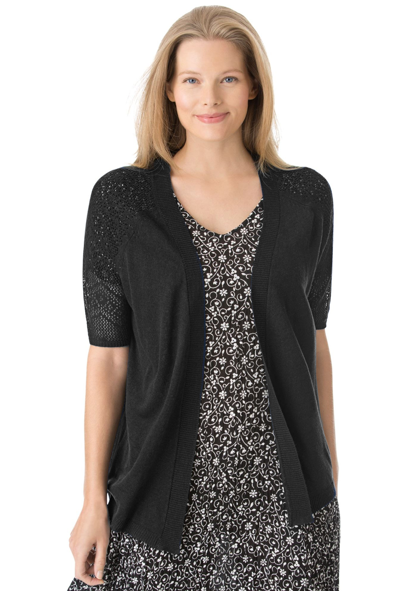 Open front short sleeve pointelle cardigan sweater, BLACK, hi-res