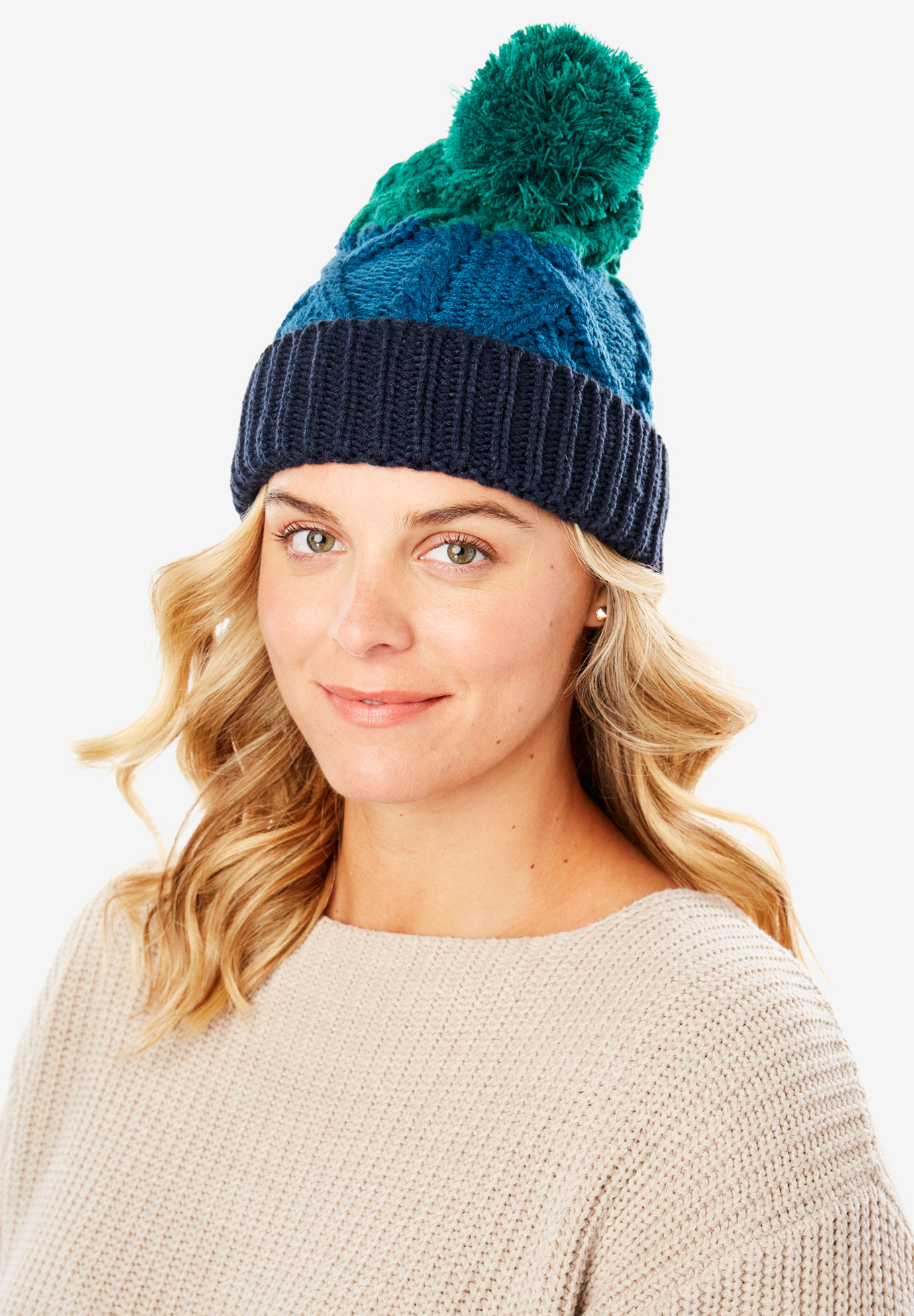 Cable Knit Pom-Pom Beanie, GREEN BLUE COLORBLOCK