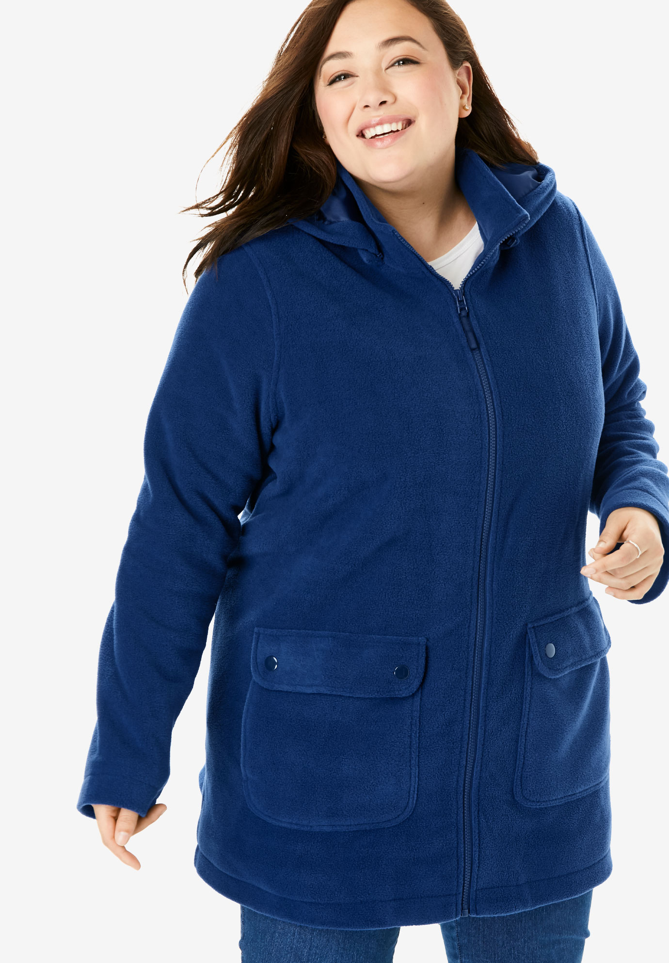 Hooded Mock Neck Fleece Coat,