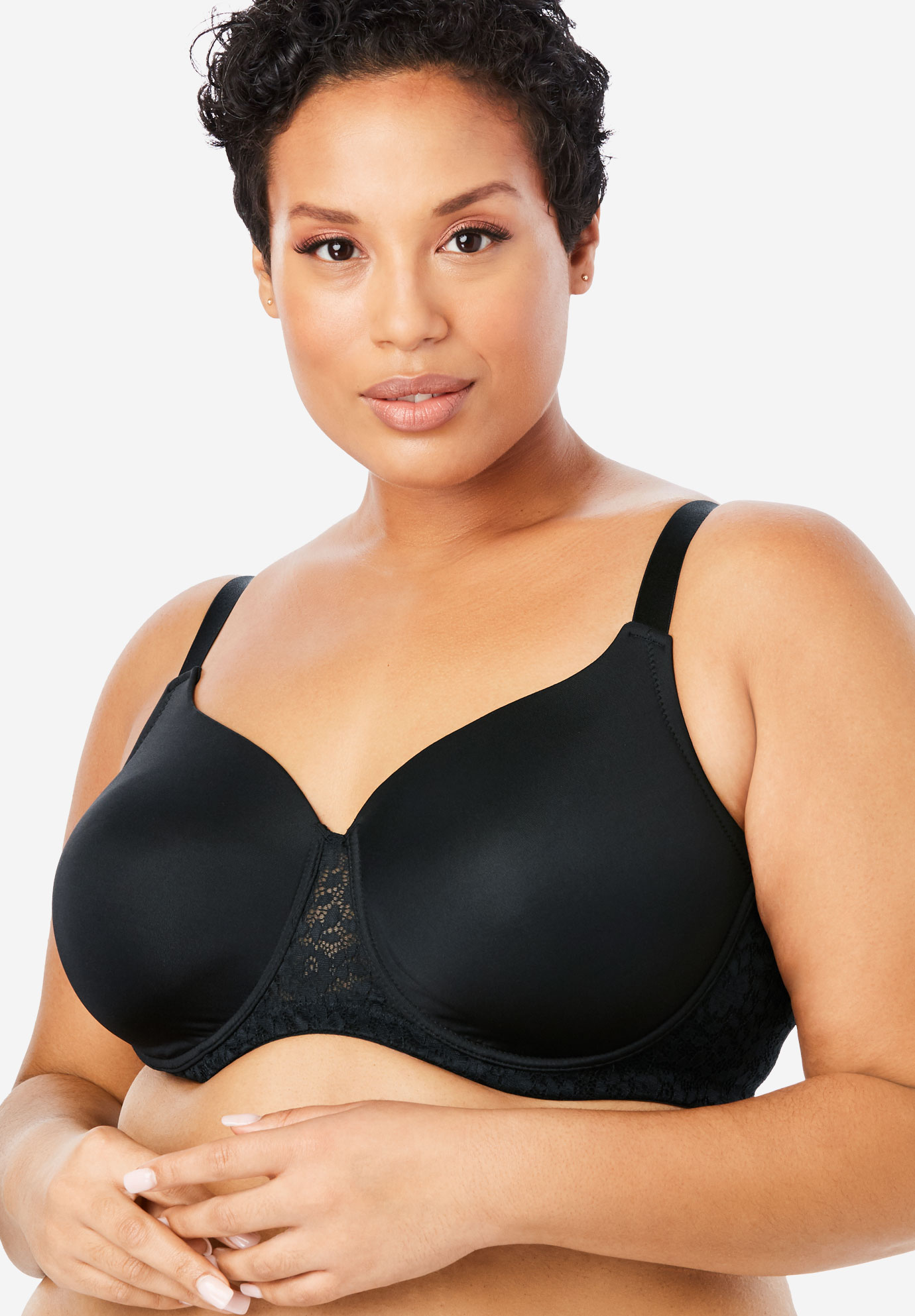 Full Coverage Lace-Trim Underwire T-Shirt Bra ,