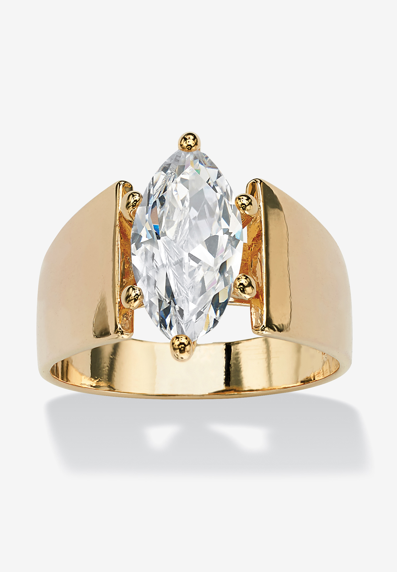 Yellow Gold Plated Cubic Zirconia Solitaire Engagement Ring Woman Within