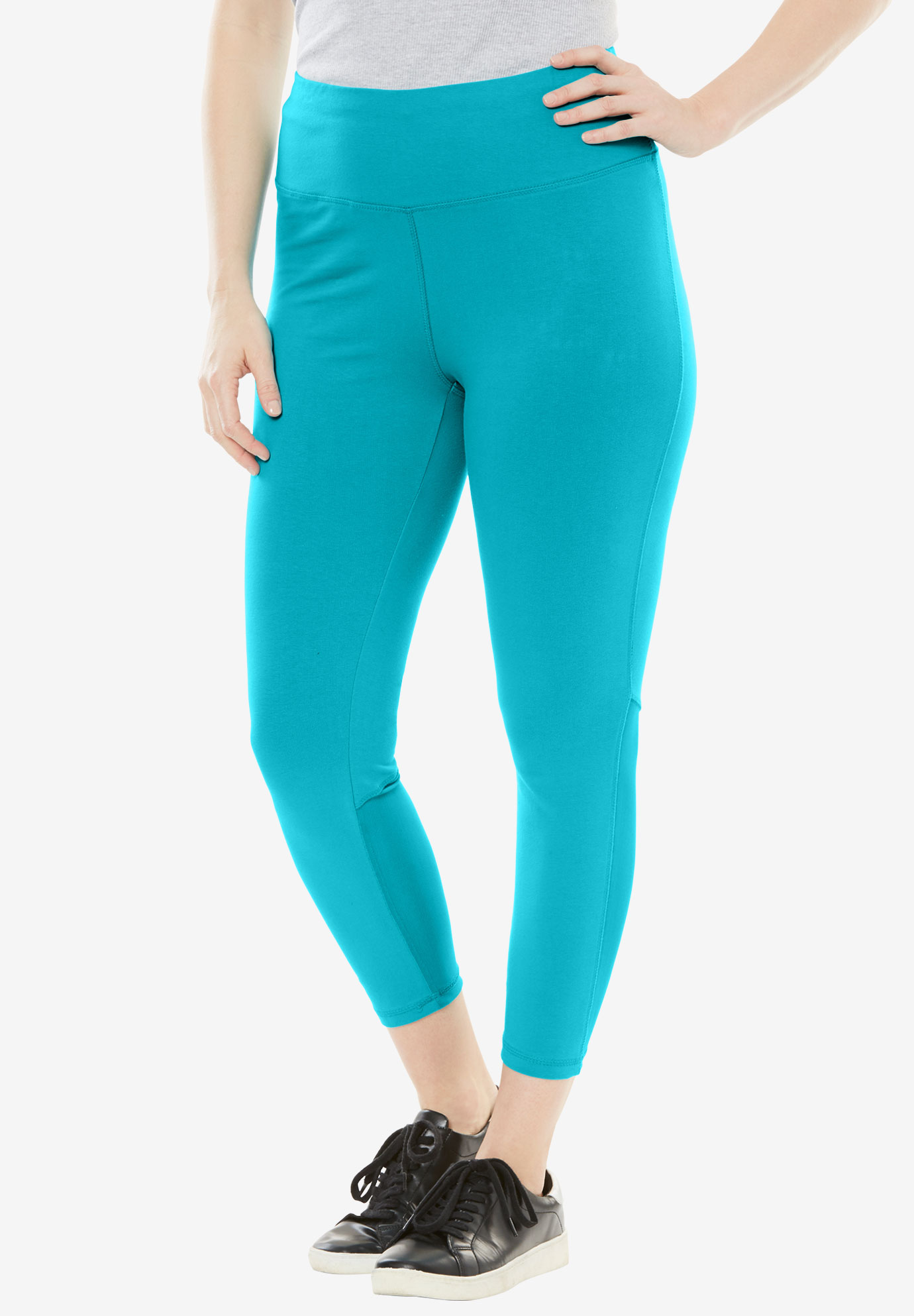 Stretch Cotton Mesh Panel Capri,