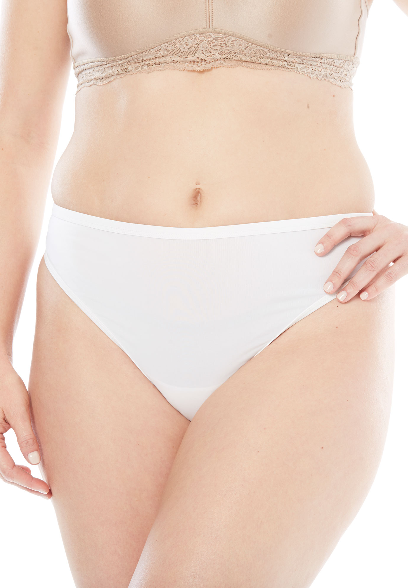Microfiber Thong by Comfort Choice®, WHITE, hi-res