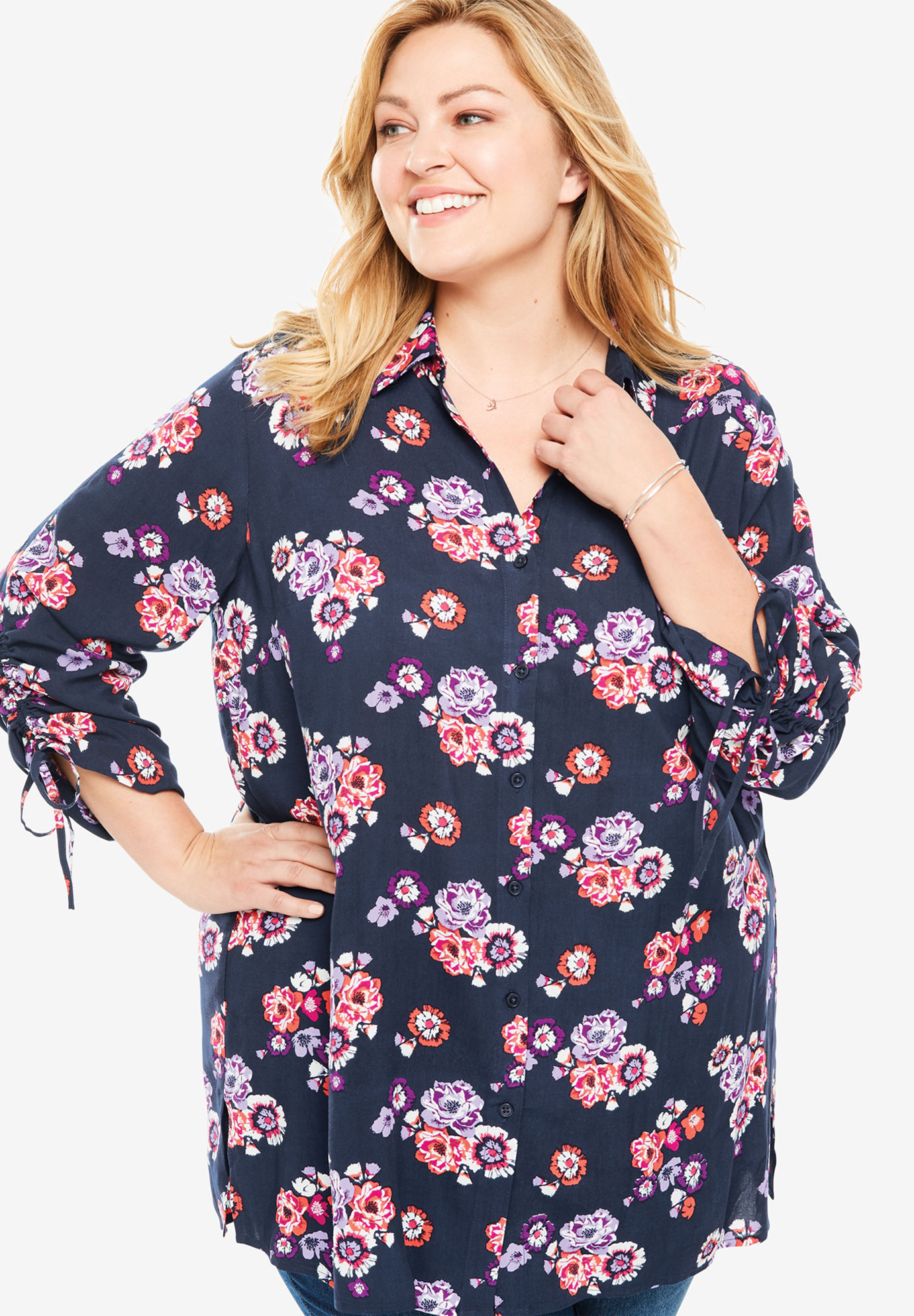Ruched Sleeve High-Low Button Down Shirt,