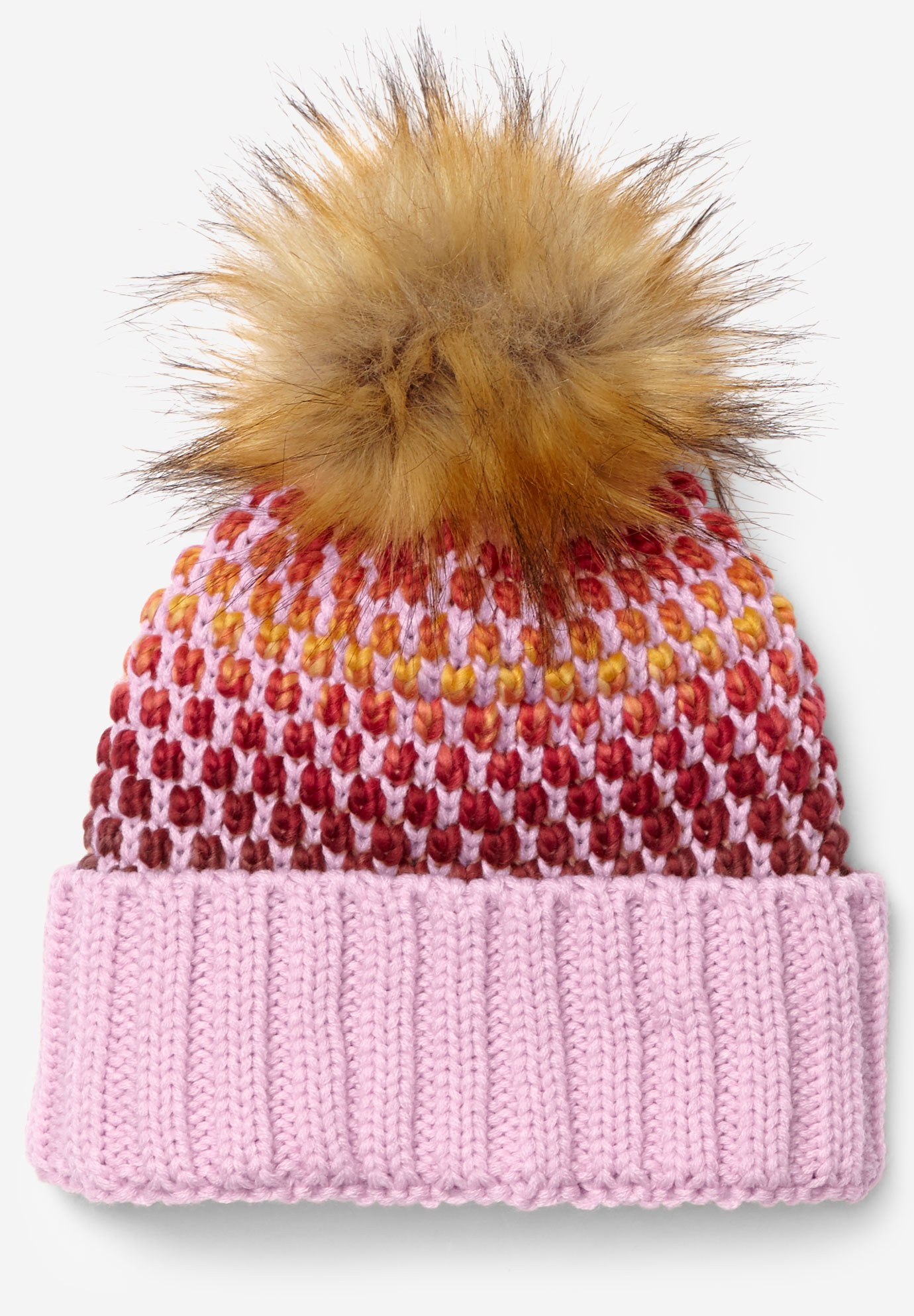 Pom-Pom Sweater Knit Beanie, PINK MULTI