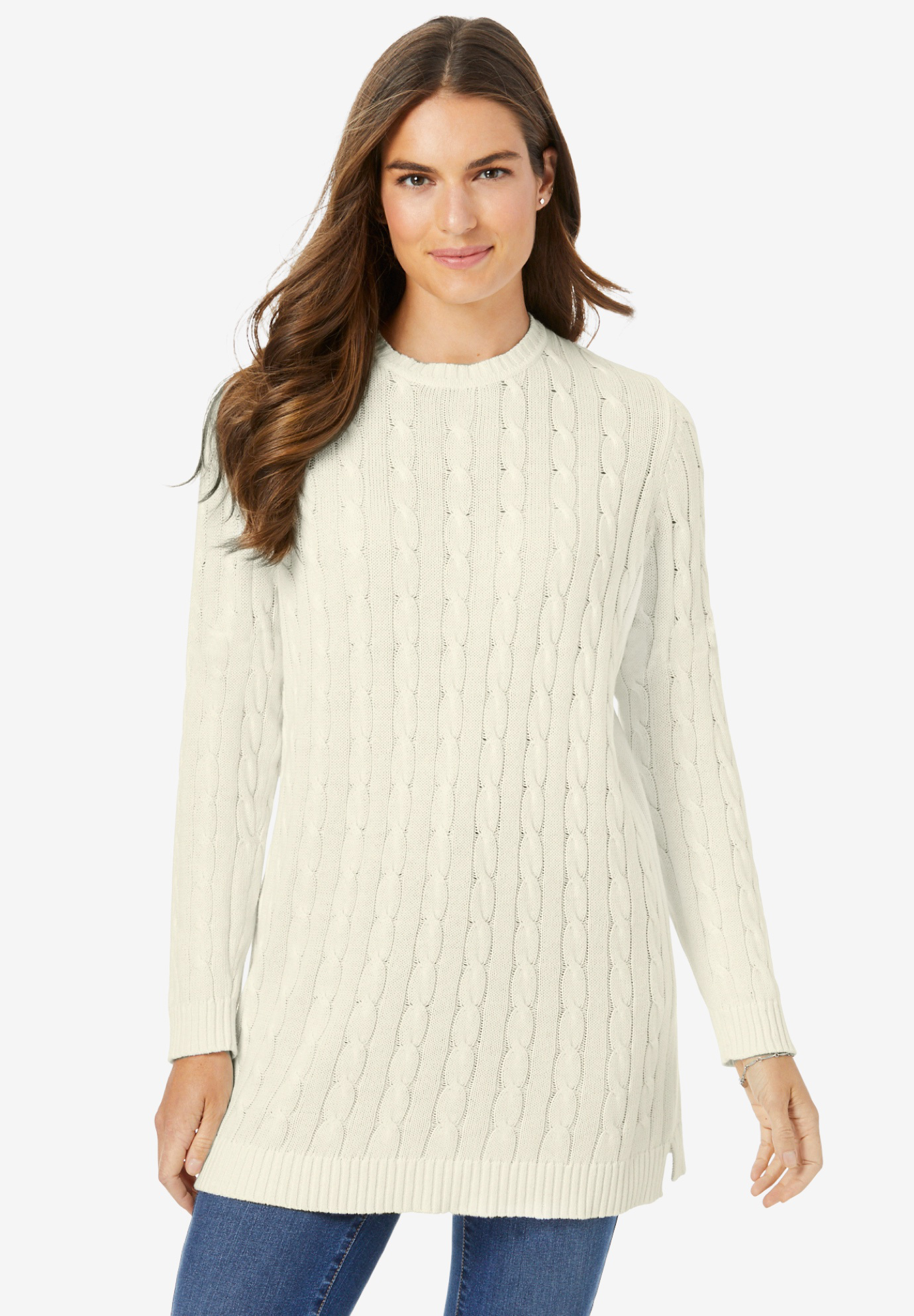 Cable Knit Pullover Crewneck Sweater,