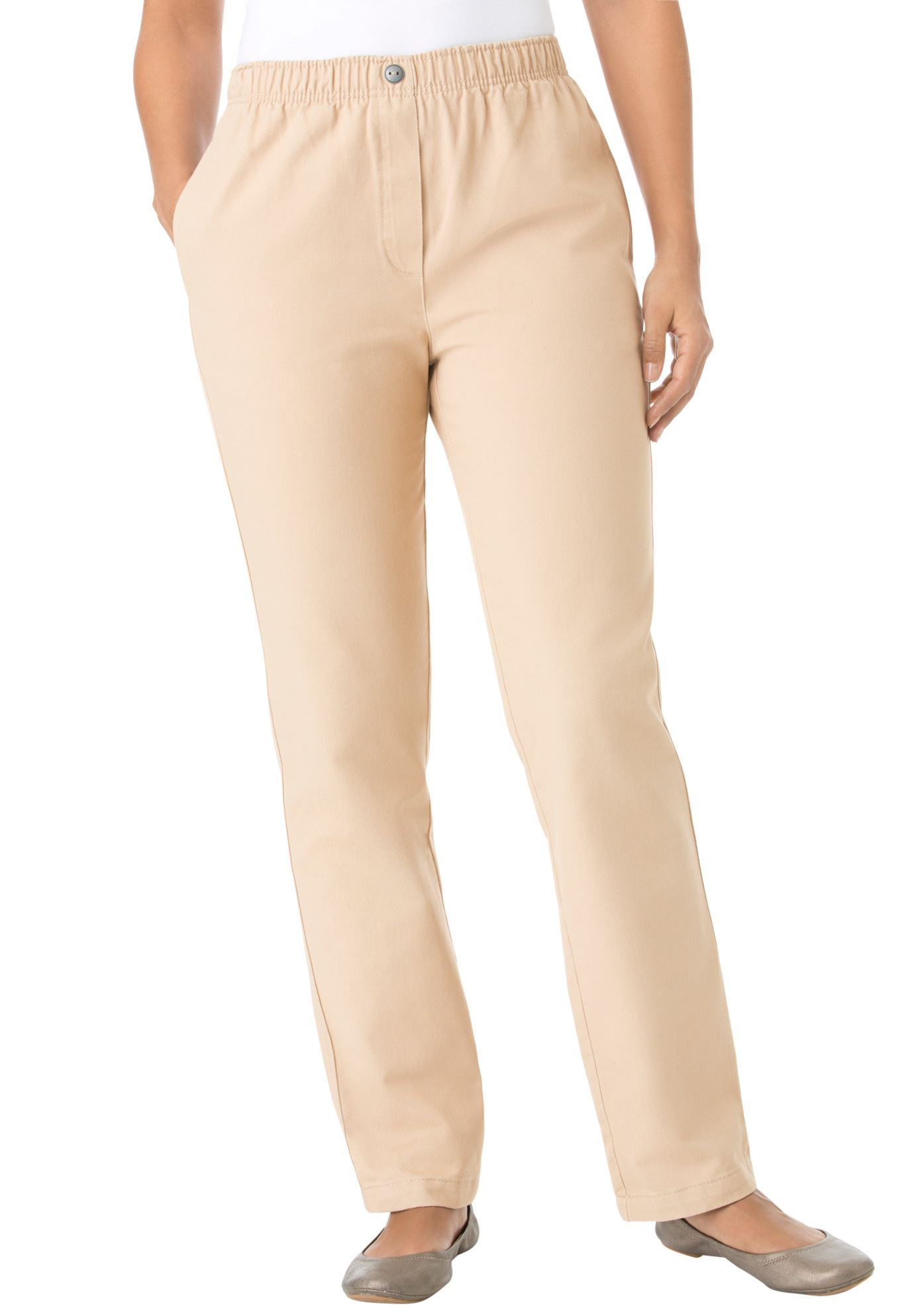 100% Cotton Comfort Pull On Jean, NEW KHAKI, hi-res