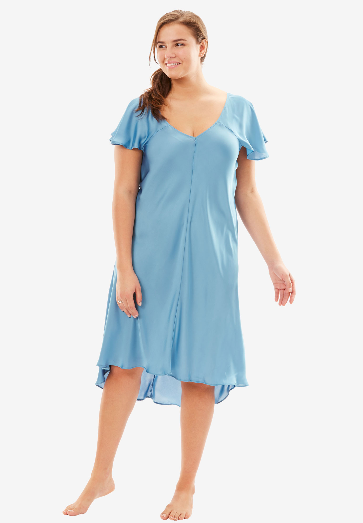 The Luxe Satin Flutter-Sleeve Nightgown by Amoureuse®,