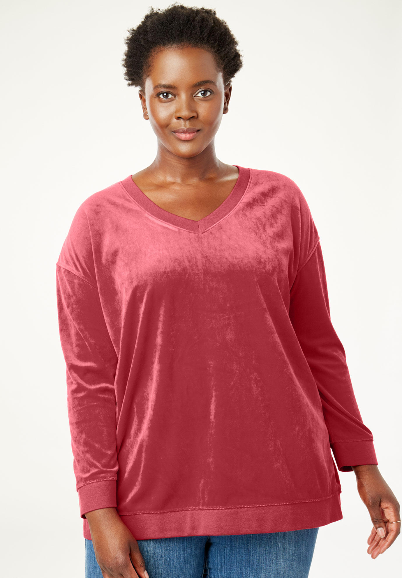 Velour V-Neck Sweatshirt,