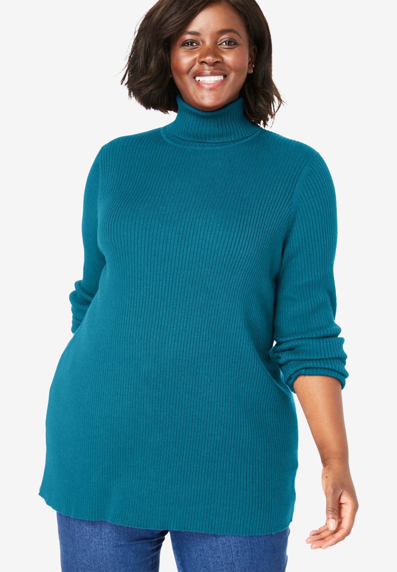Rib Knit Turtleneck Sweater,