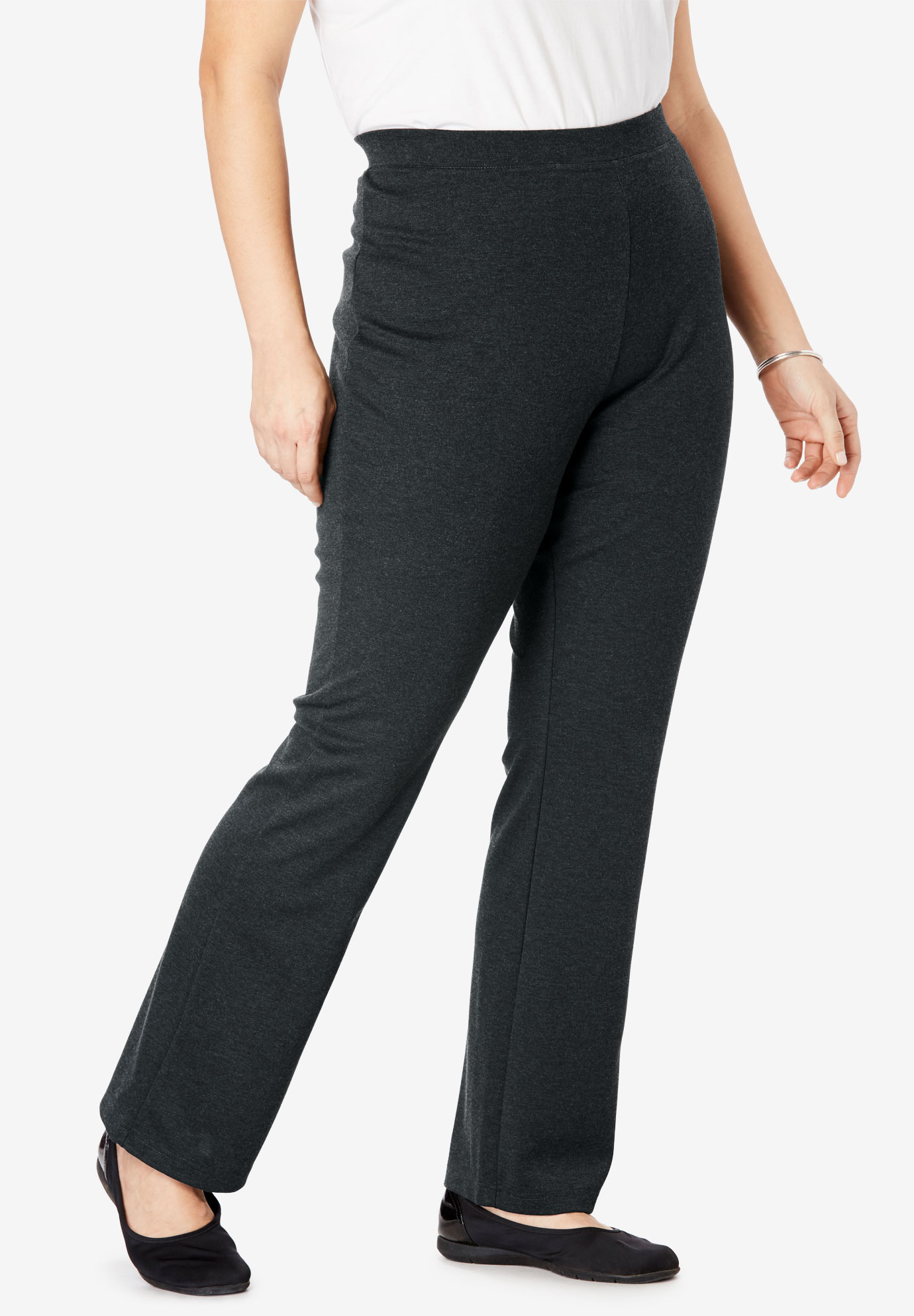 Bootcut Ponte Knit Stretch Pants, HEATHER CHARCOAL, hi-res