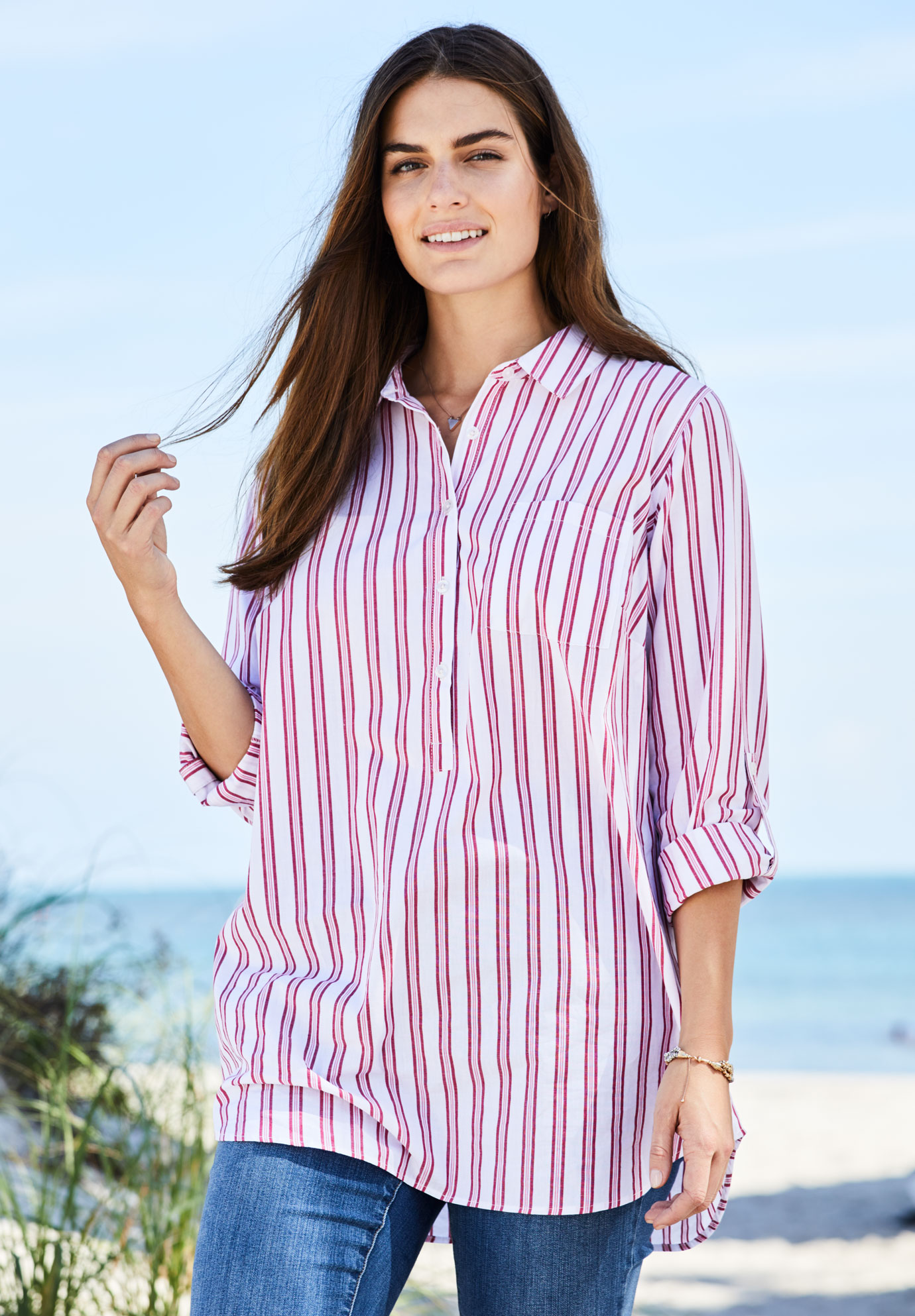 'Perfect' cotton popover shirt, RUBY ROSE TRIPLE STRIPES, hi-res