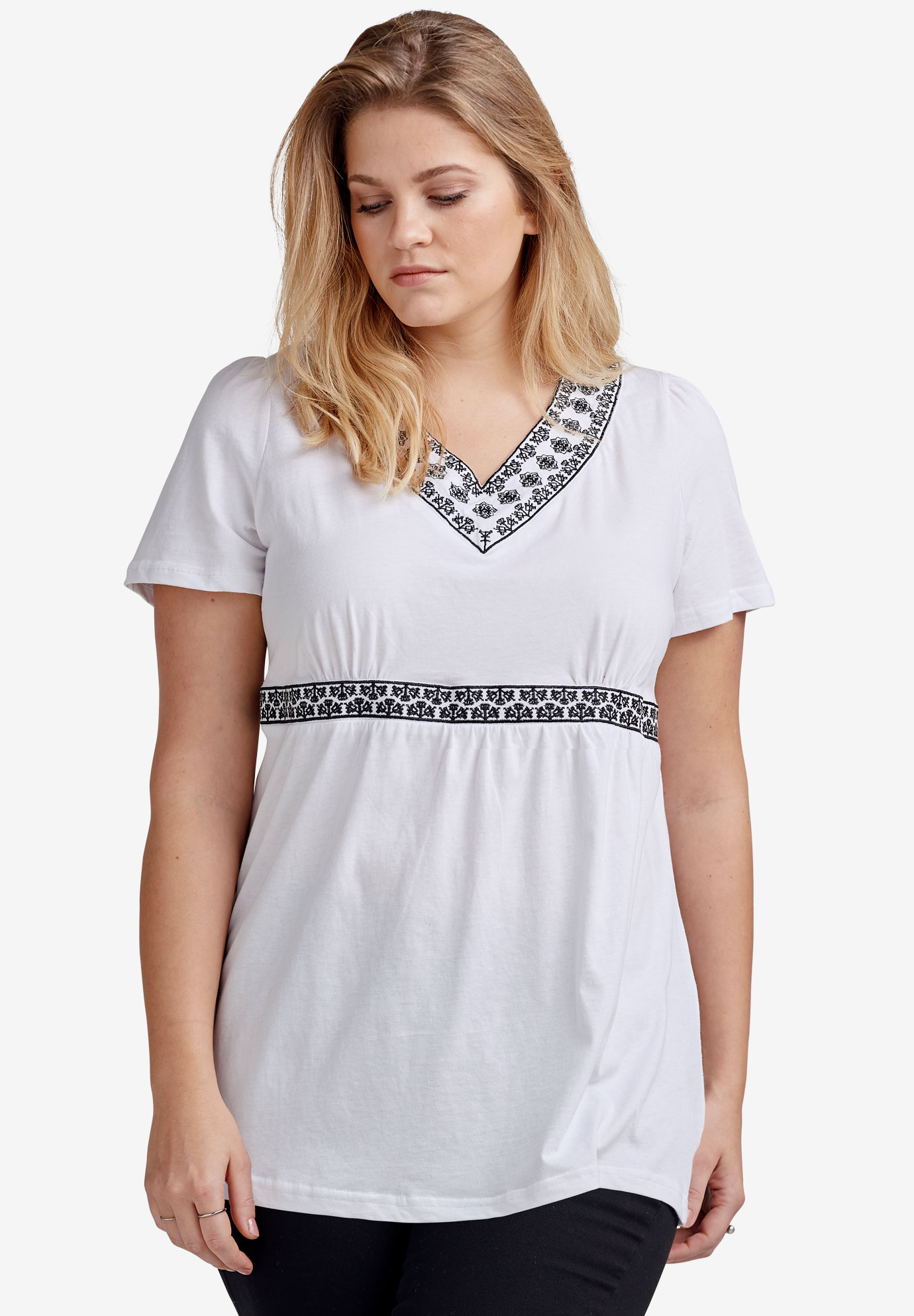 Embroidered Empire Waist Tunic by ellos®,