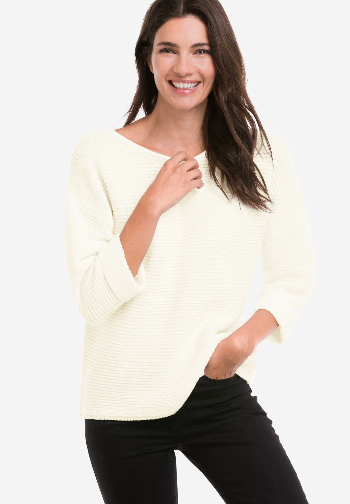 Ribbed Pullover Sweater by ellos®, IVORY, hi-res
