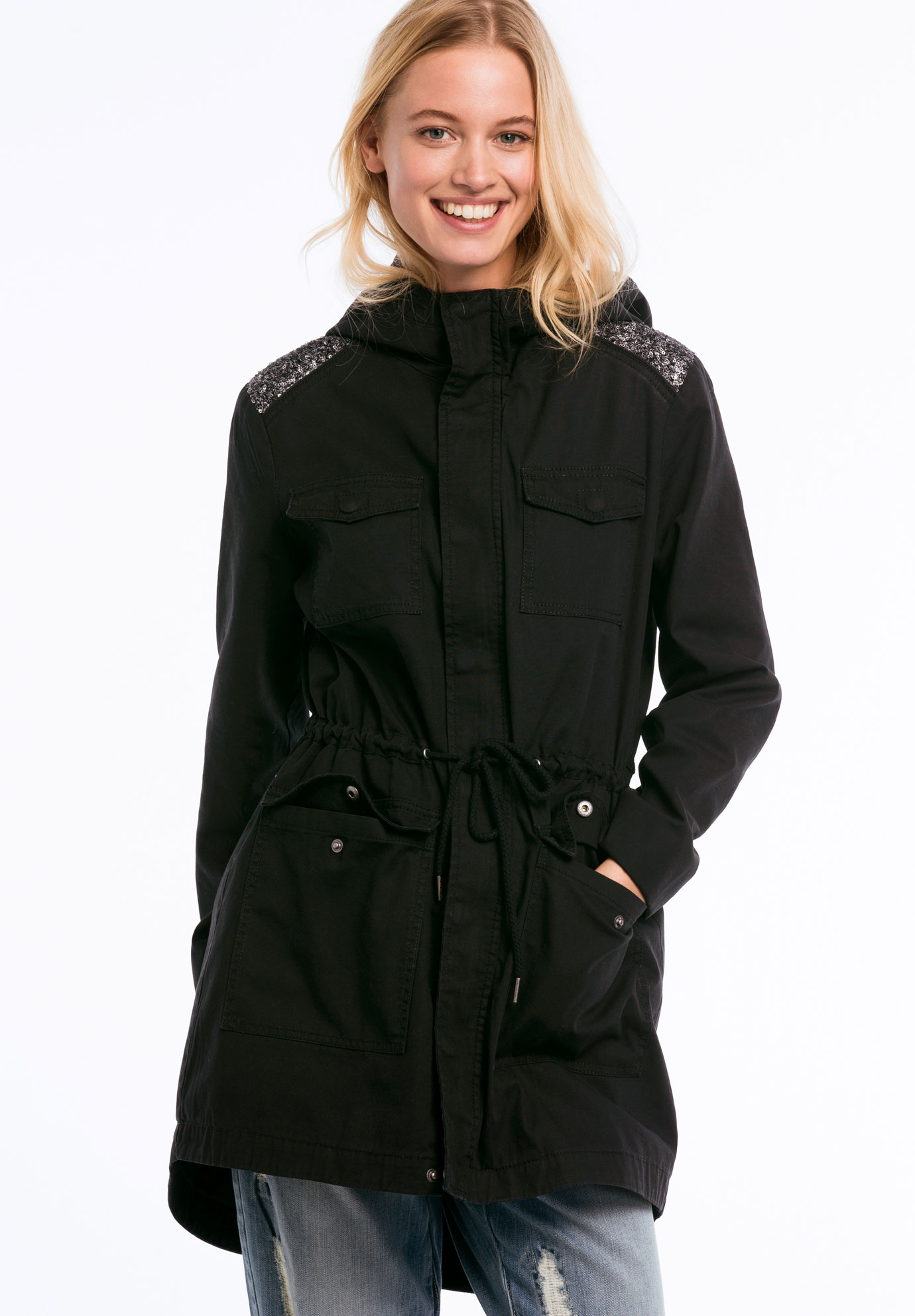 Hooded Sequin Shoulder Trim Twill Anorak by ellos®, BLACK, hi-res
