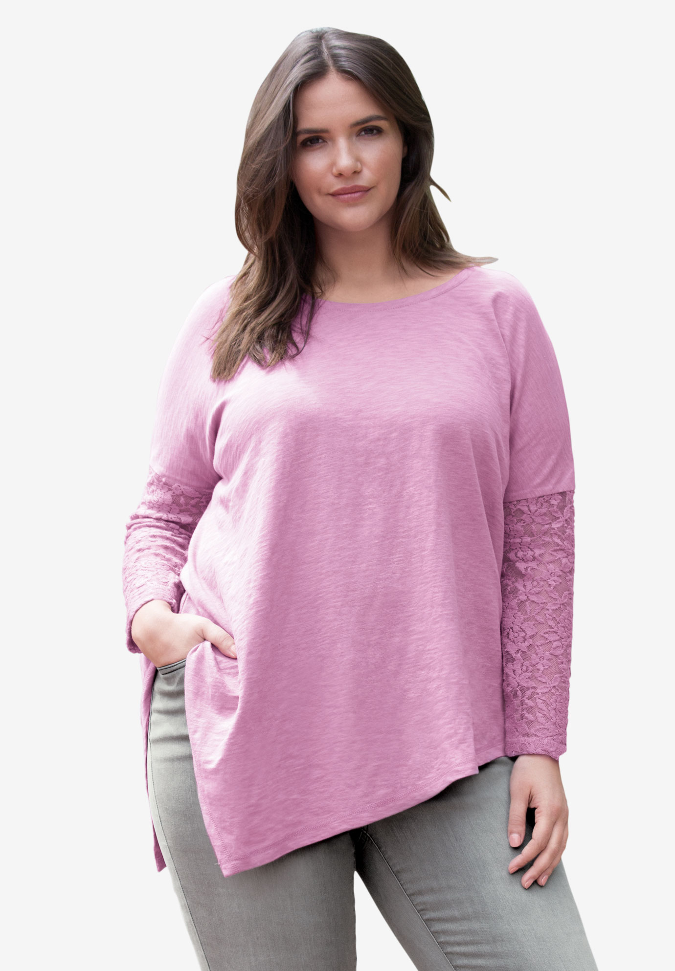 Point Hem Lace Sleeve Tunic by ellos®, MAUVE ORCHID, hi-res