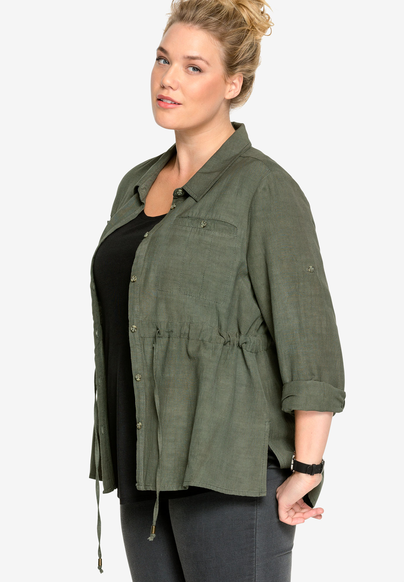 Drawstring Waist Button-Front Shirt by ellos®,