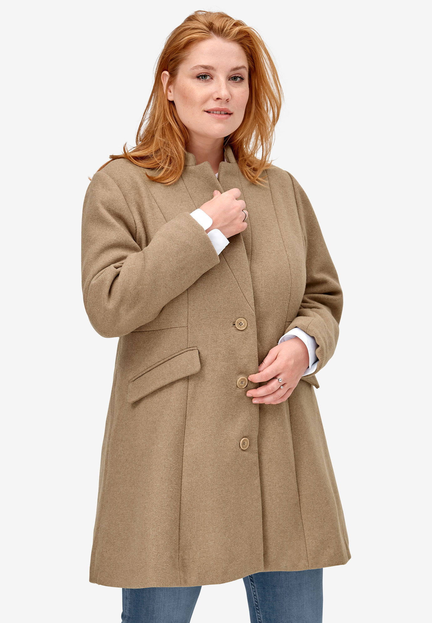 Fit & Flare Wool Coat,