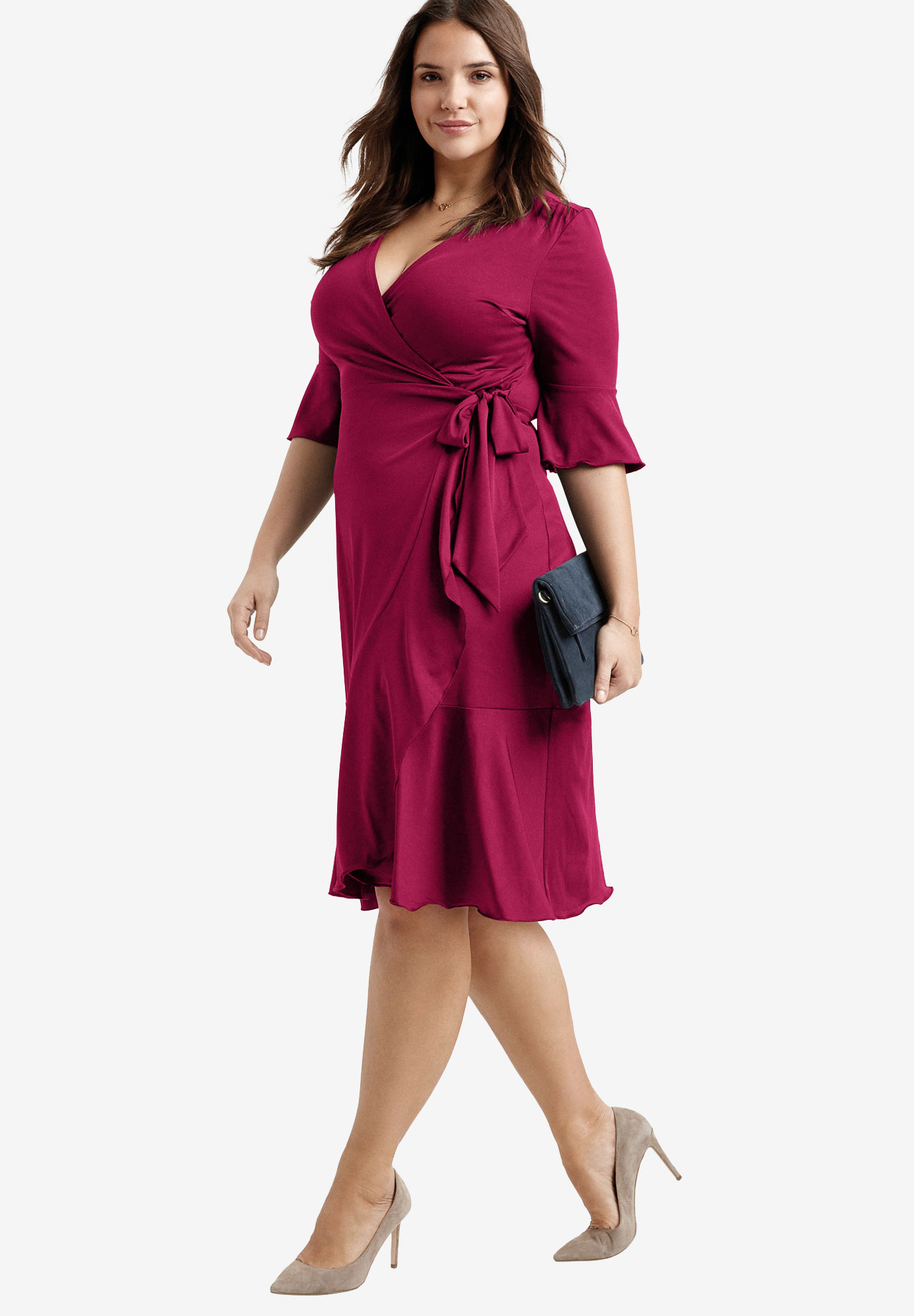 Ruffle Trim Wrap Dress By Ellos 174 Plus Size Special