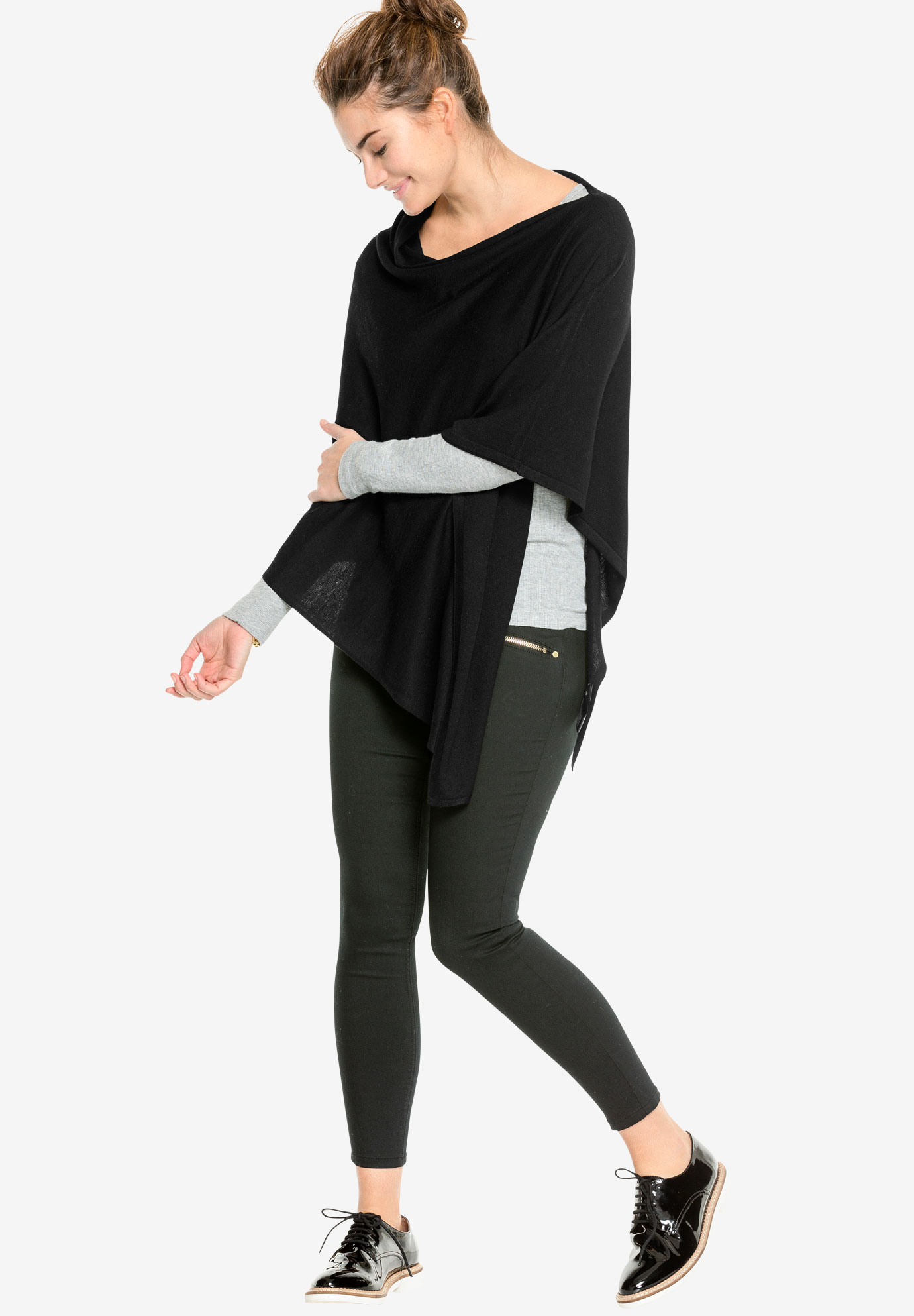 Point Hem Pullover Poncho by ellos®, BLACK, hi-res