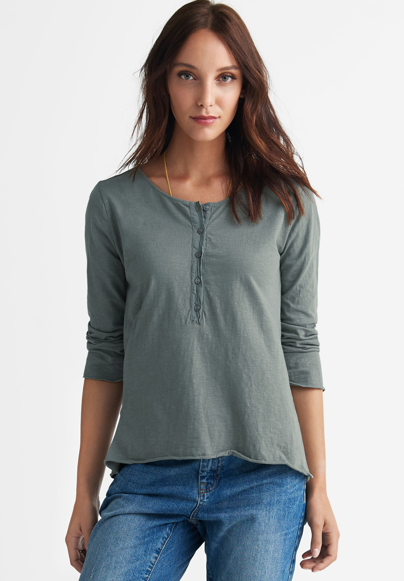 Flounce Back Henley Knit Top by ellos®,