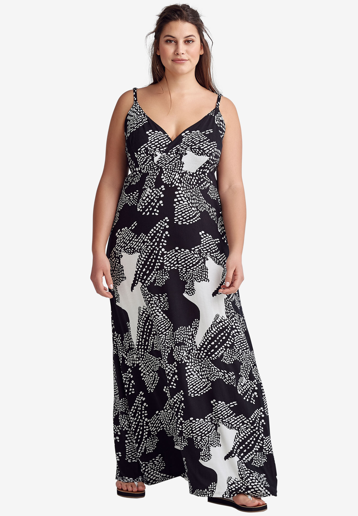 Knit Surplice Maxi Dress by ellos®, BLACK WHITE ABSTRACT, hi-res