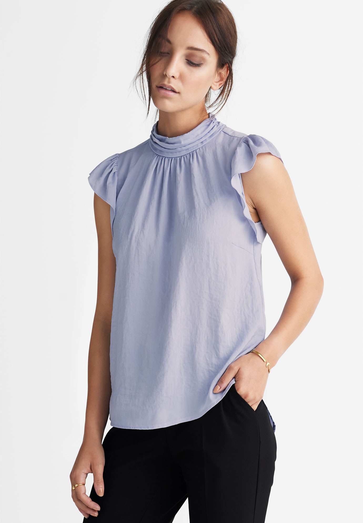 Pleated Mock Neck Blouse by ellos®,