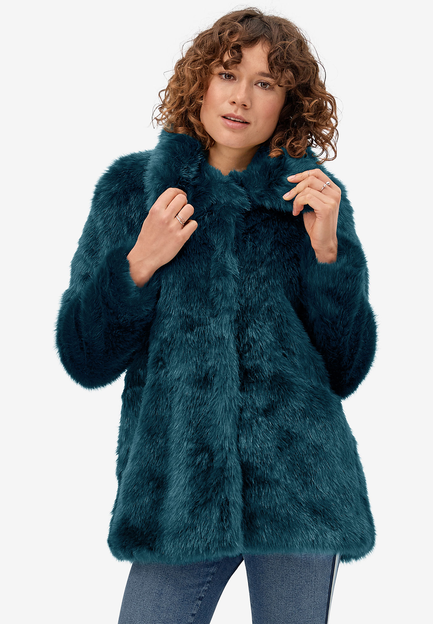 Blue Faux Fur Coat,