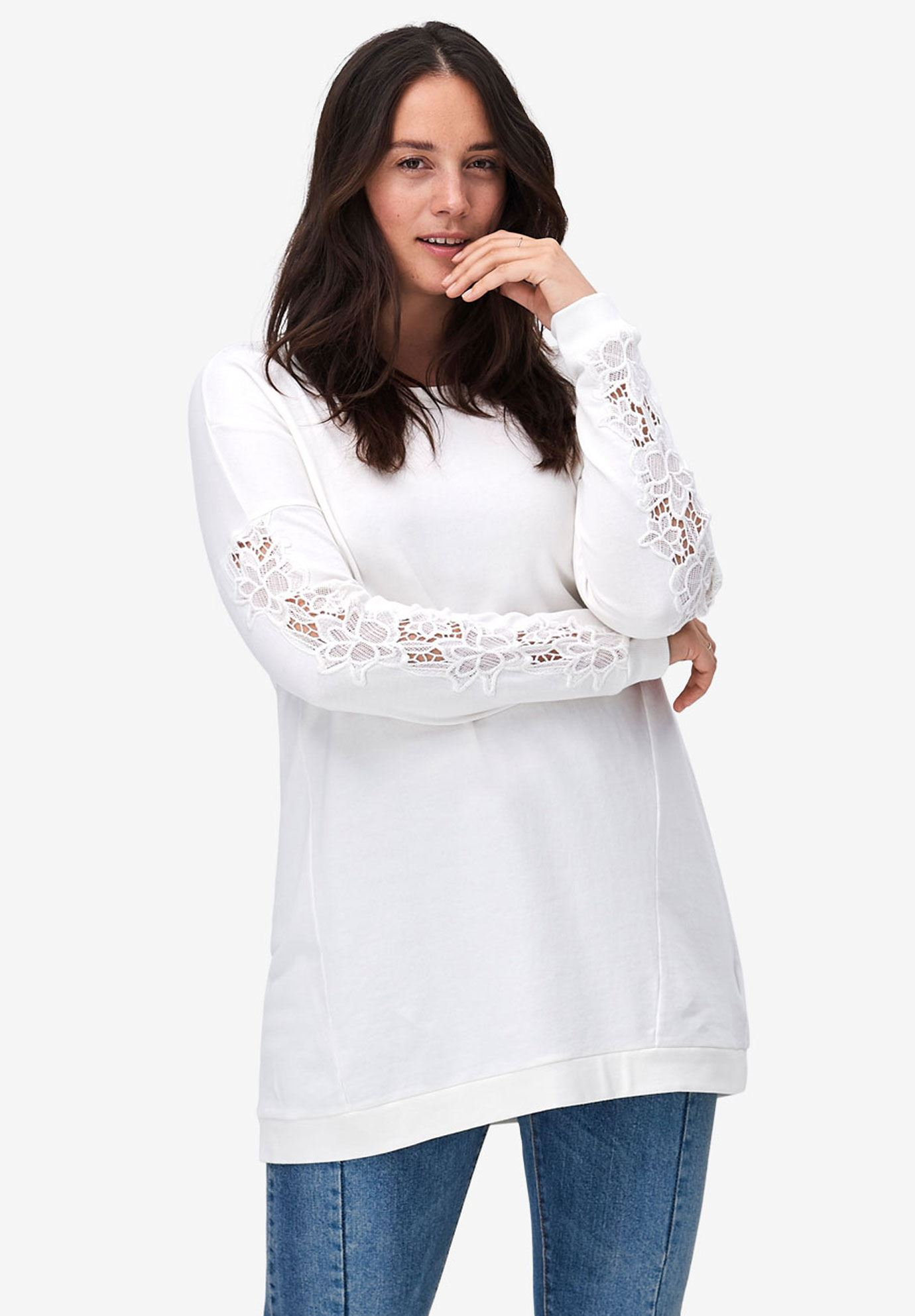 Lace Sleeve Sweatshirt Tunic by ellos®,
