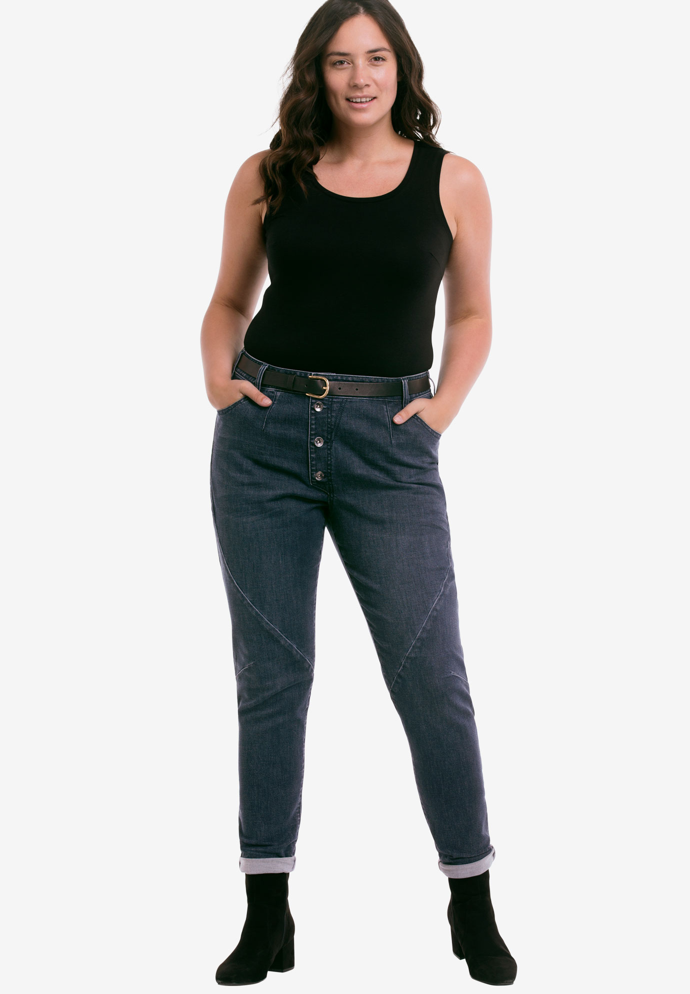 Button Fly Girlfriend Jeans by ellos®,