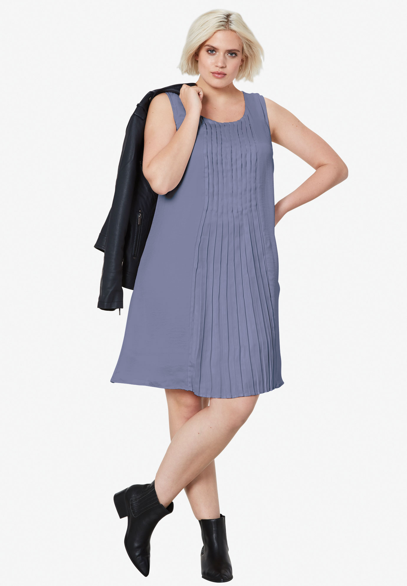 Pleated Sleeveless Dress,