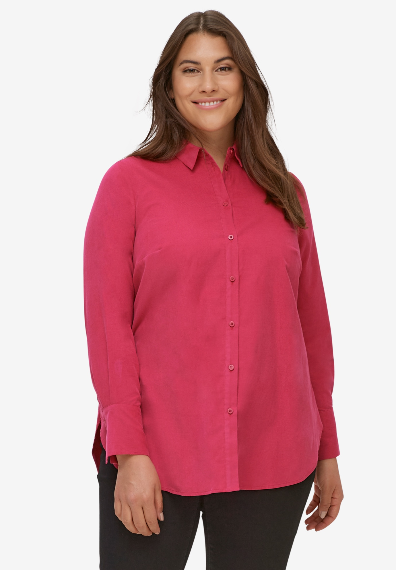 Corduroy Button Front Tunic,