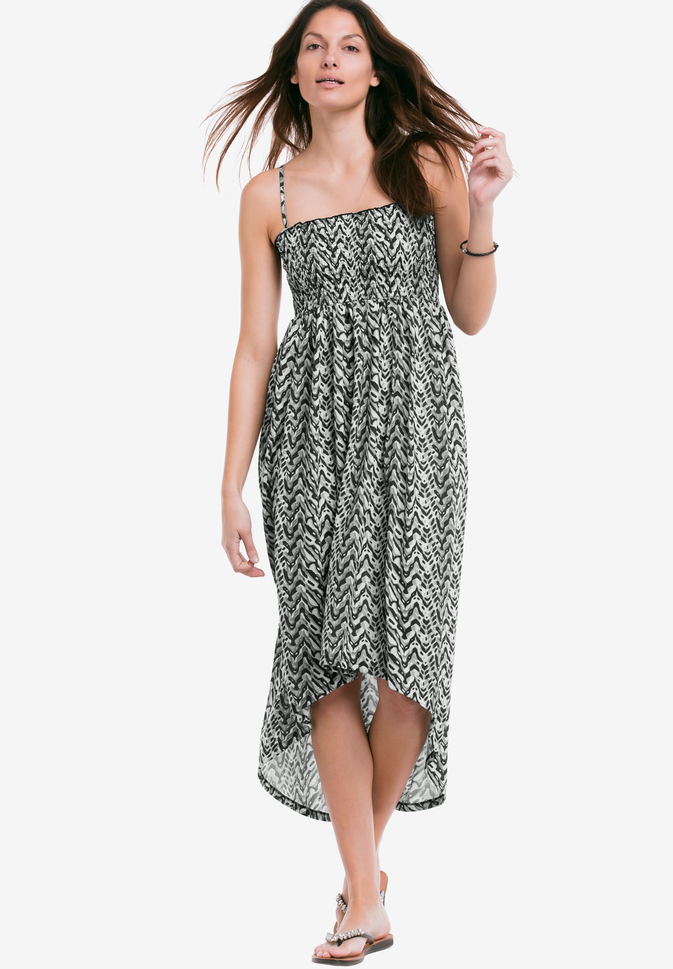 High/Low Smocked Knit Dress by ellos®, BLACK GREY PRINT, hi-res