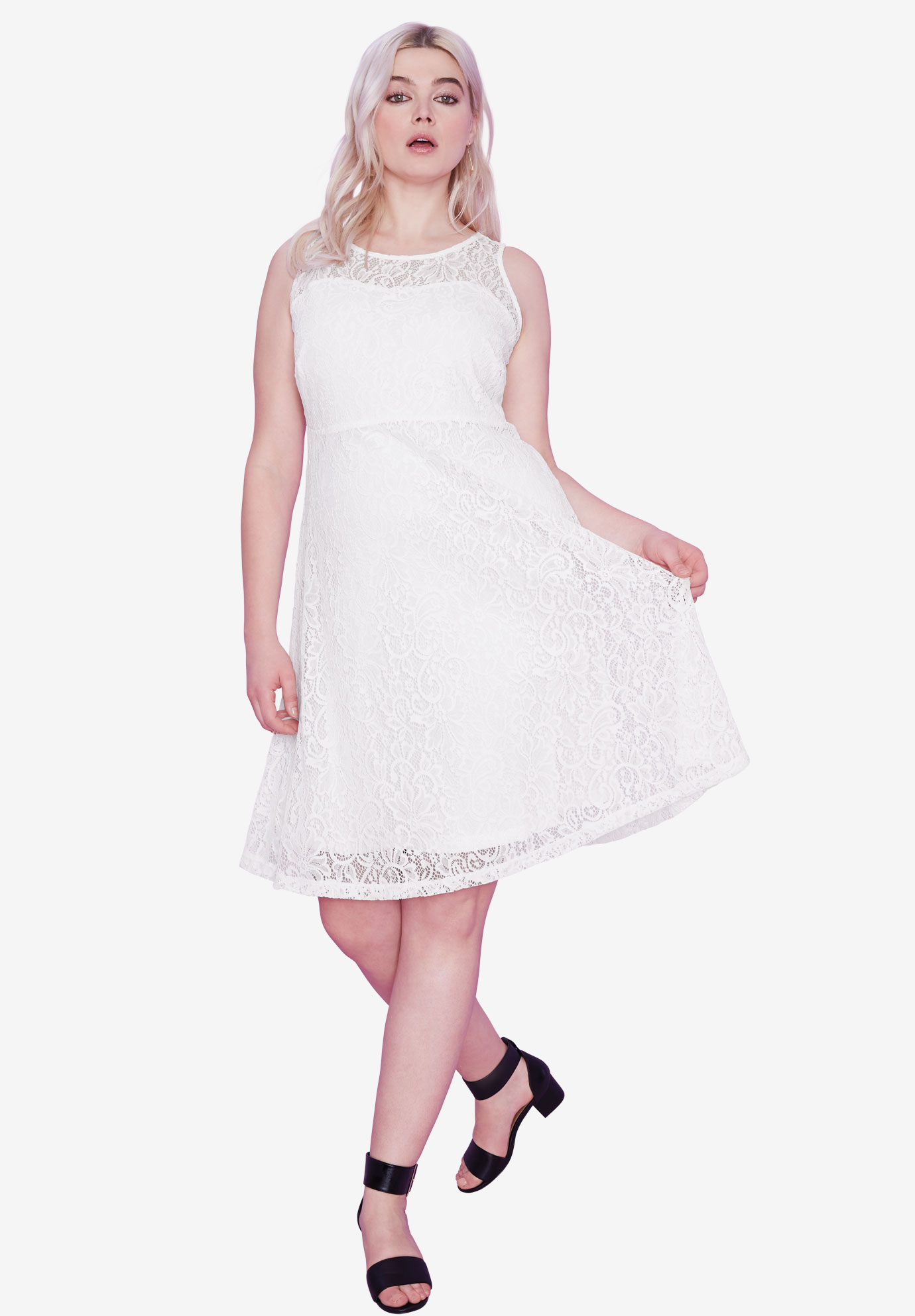Sleeveless Stretch Lace Dress by ellos®, WHITE, hi-res