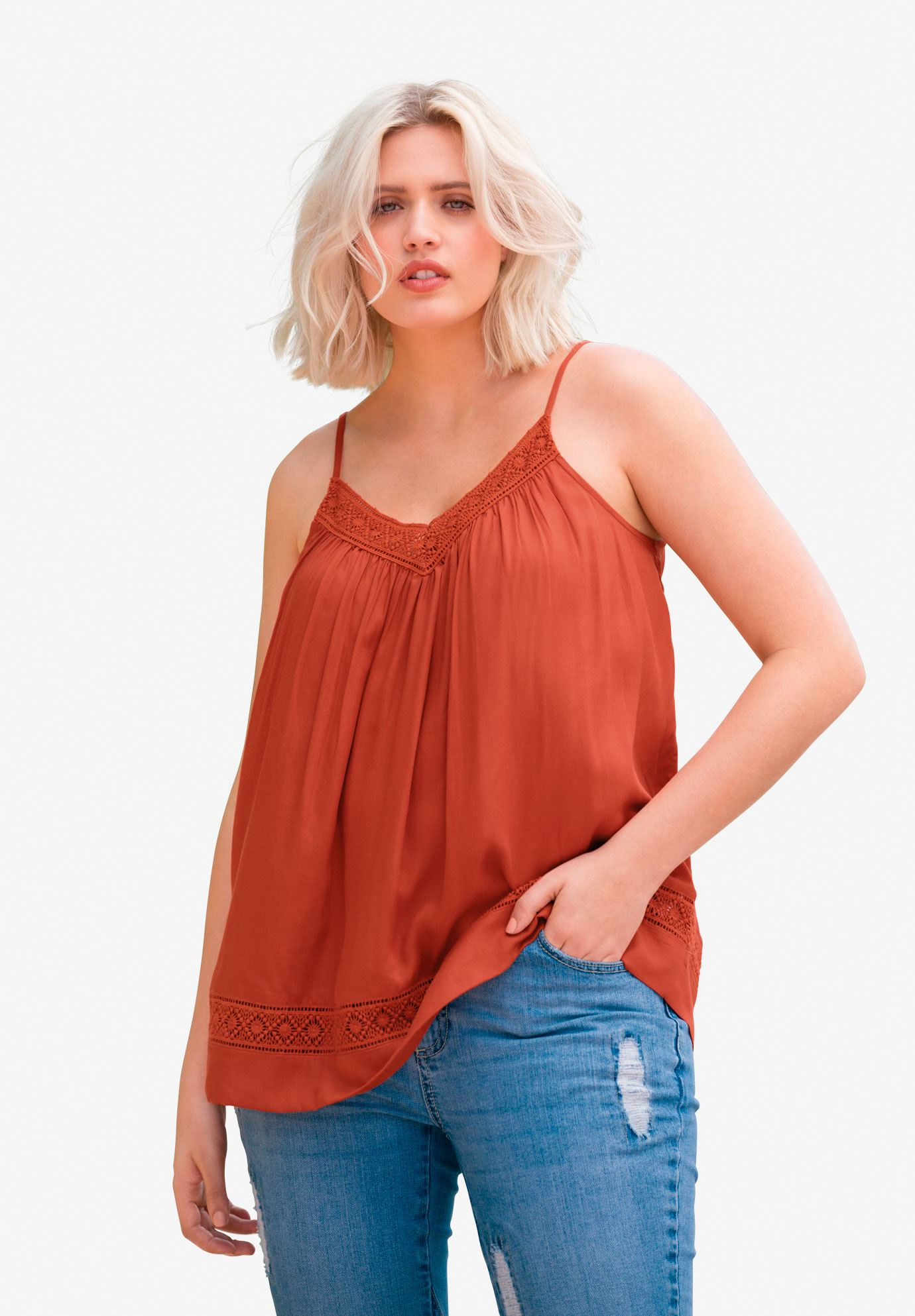 Crochet Lace Trim Tank Top by ellos®, COPPER RED, hi-res