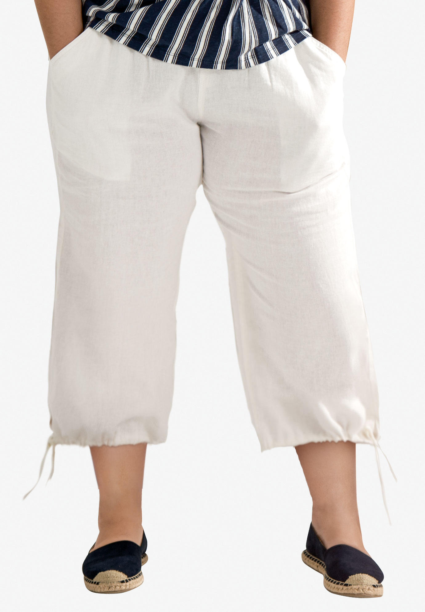 Linen Blend Tie Hem Capri by ellos®, WHITE, hi-res
