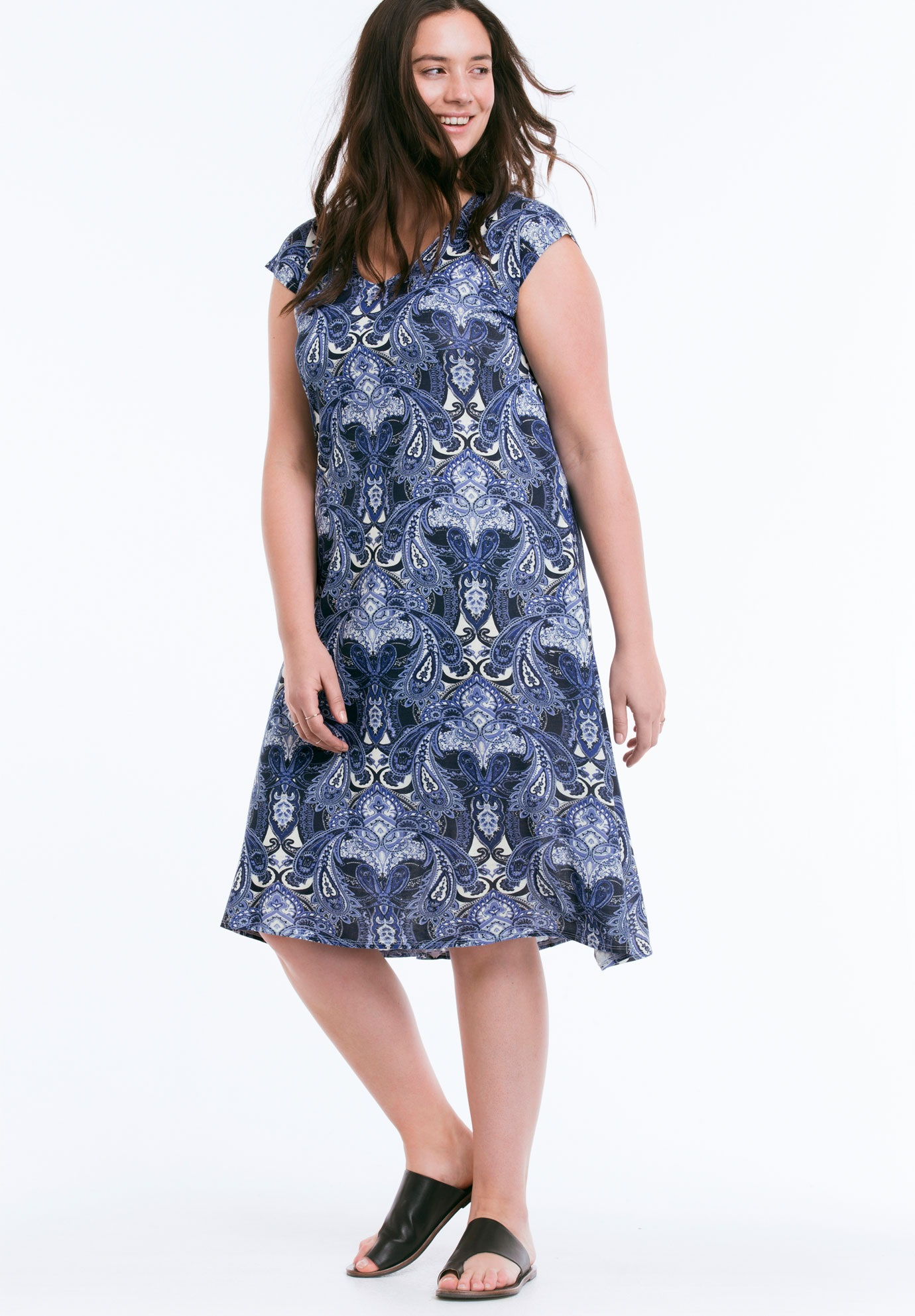Paisley T-Shirt Dress by ellos®, NAVY PRINT, hi-res
