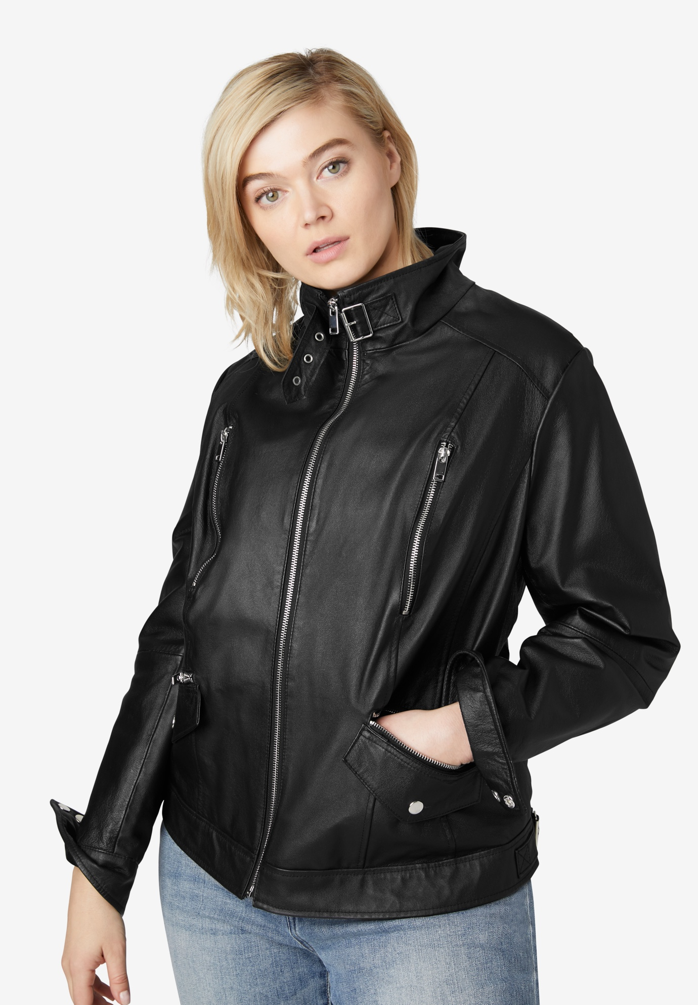 Zip Front Leather Jacket by ellos®, BLACK, hi-res