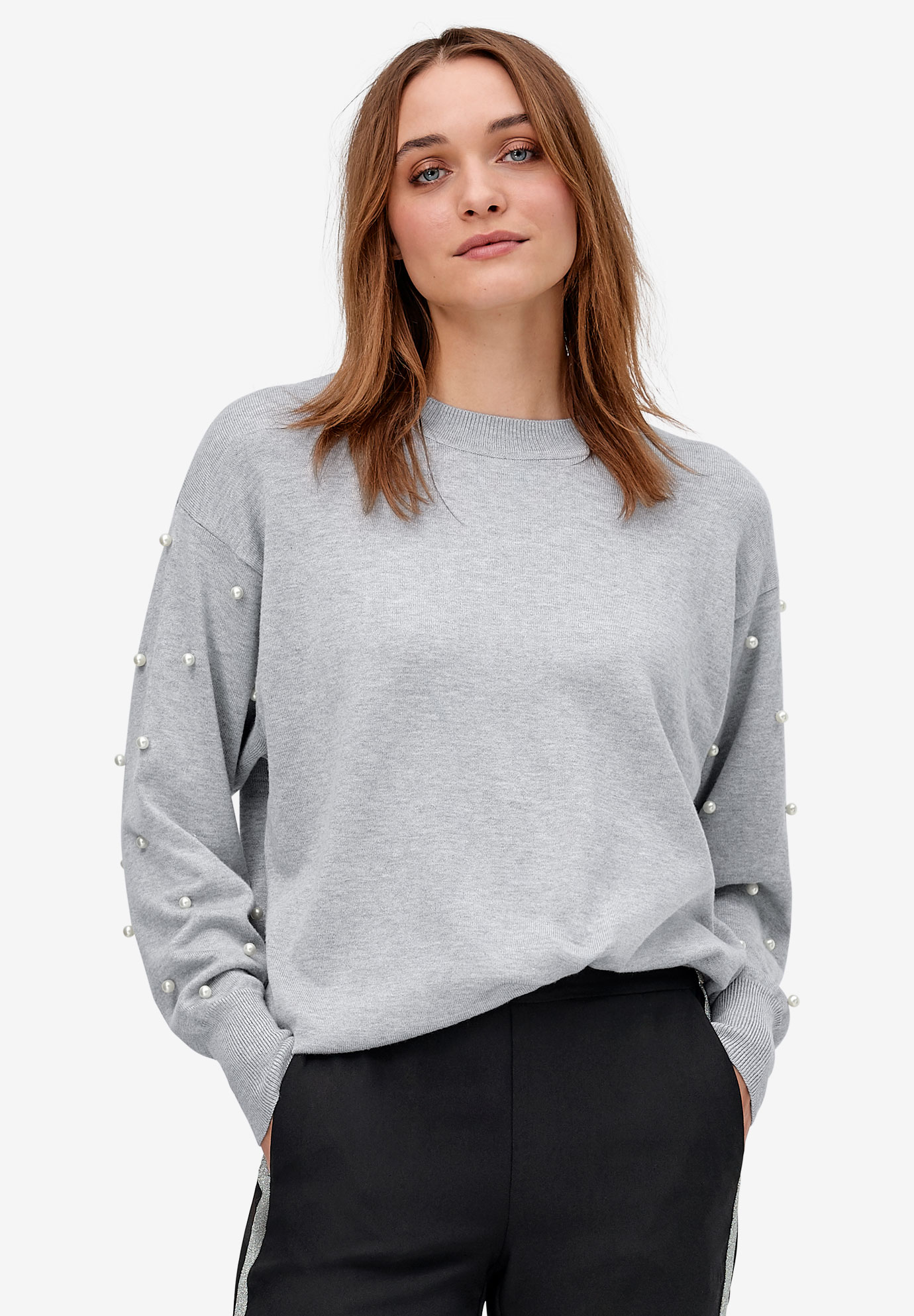 Pearl Sleeve Pullover Sweater by ellos®,