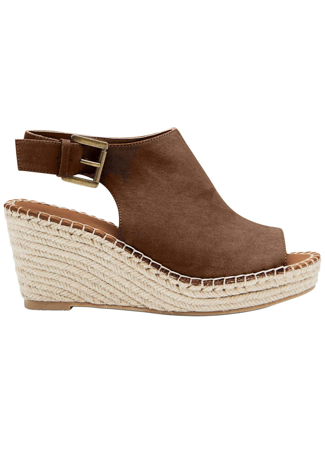 Faux Suede Espadrille Wedge Sandals by ellos®,