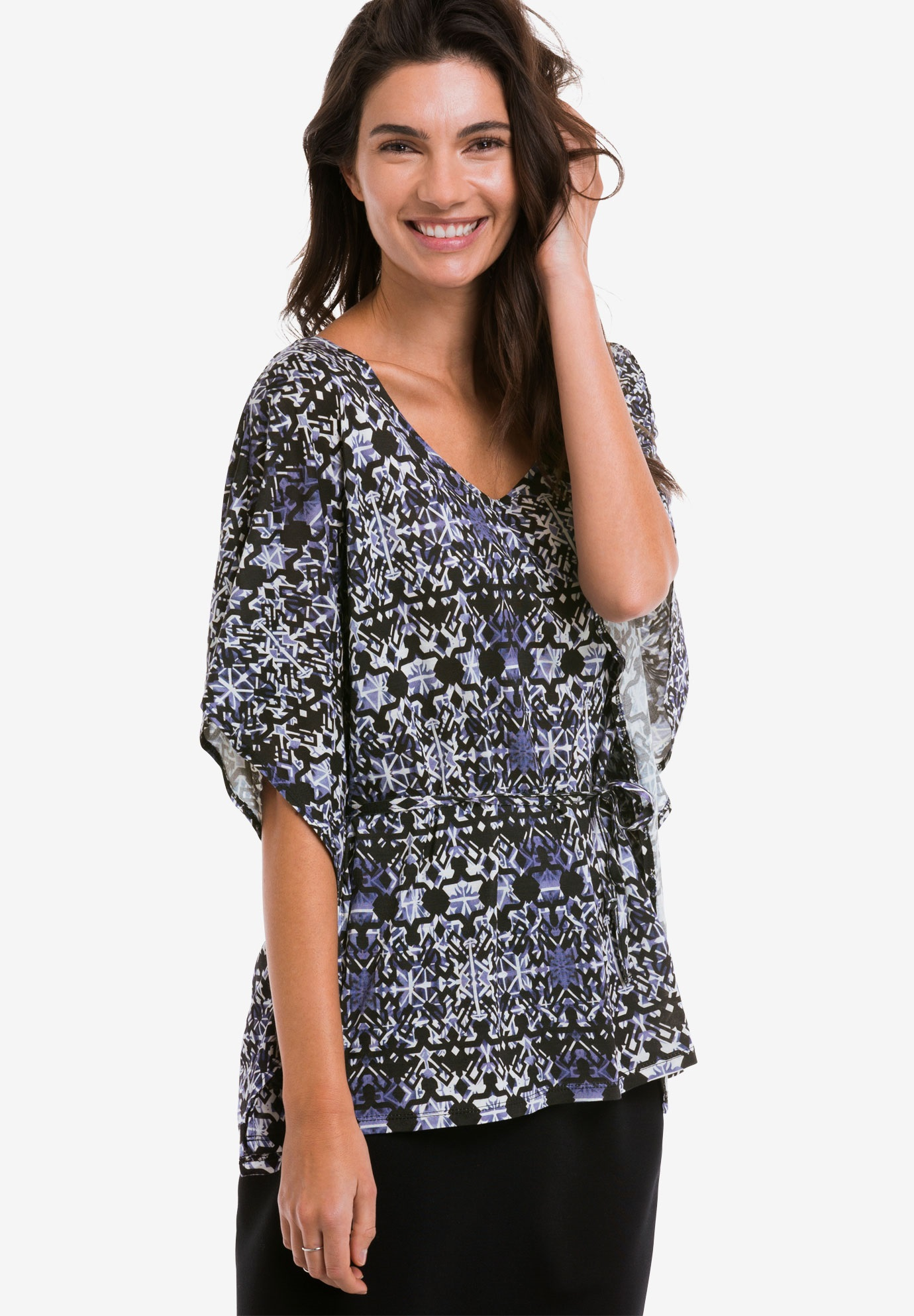 Belted Caftan Tunic by ellos®, NAVY MULTI PRINT, hi-res