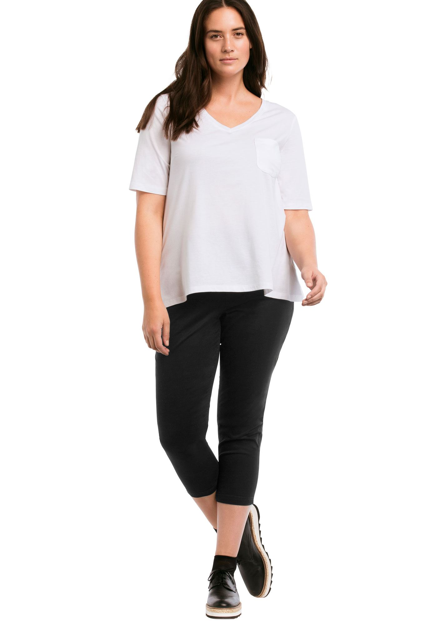 Stretch Twill Capri Leggings by ellos®,