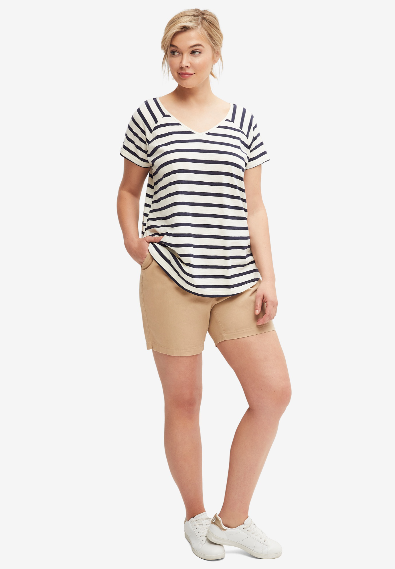 Rounded V-neck Tee by ellos®, IVORY NAVY STRIPE, hi-res